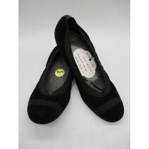 STUART WEITZMAN black suede cap-toe ballet flats